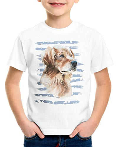 style3 Golden Retriever T-Shirt für Kinder Hundeliebhaber züchter Sommer, Größe:128
