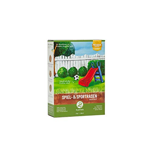 Plantura Spiel- & Sportrasen, 2 kg, strapazierfähiger Rasen für Kinder & Haustiere, Premium-Saatgut