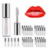 Yosoo 45Pcs Lip Gloss Tubes Empty Plastic Clear Lip Balm Bottle Container Silver Transparent 1.2ml Makeup Tool for Women
