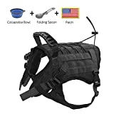 EJG Tactical Dog Harness Vest, with Molle System & Velcro Area, No Pulling Design, Comfy Mesh Padding, for Service Dogs, Military Training Hunting Hiking, for Medium Large Dogs (Medium, Black)