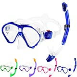 Kids Snorkel Set Dry Top Snorkel Mask for Kids with Carrying Bag Luminous Scuba Gear Youth Junior Child Snorkeling Gear for Boys and Girls Age from 5-13 Years Old