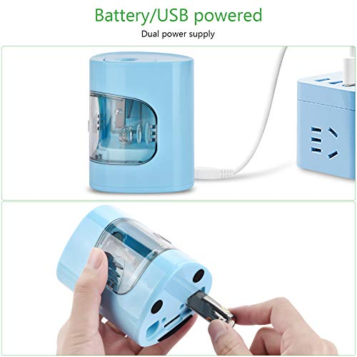 Electric Pencil Sharpener, USB/Battery Dual Power Mode, Heavy-duty Helical Blade to Fast Sharpen, Auto Stop for No.2/Colored Pencils(6-8mm), Suitable for Kids, Teachers, Classroom, Office (blue) Photo #2