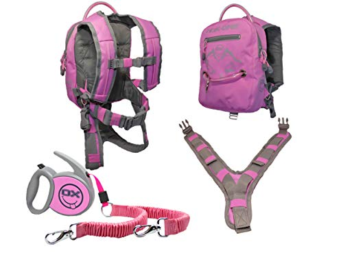MDXONE Kids Snowboard Ski Harness Trainer with Retractable Leash and Absorb bungees (Pink) New 2019-2020