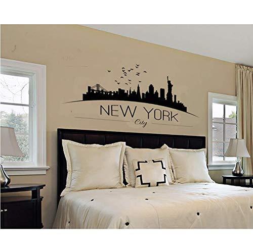 Decoración Del Hogar Skyline De La Ciudad De Nueva York Tatuajes De Pared Skyline De La Ciudad Silueta Etiqueta De La Pared Decoración Del Dormitorio Del Hogar 86X42 Cm