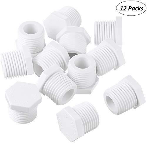 Mudder 12 Pieces 1/2 Inch 11630 91857 Water Heater Drain Plug White Plastic...
