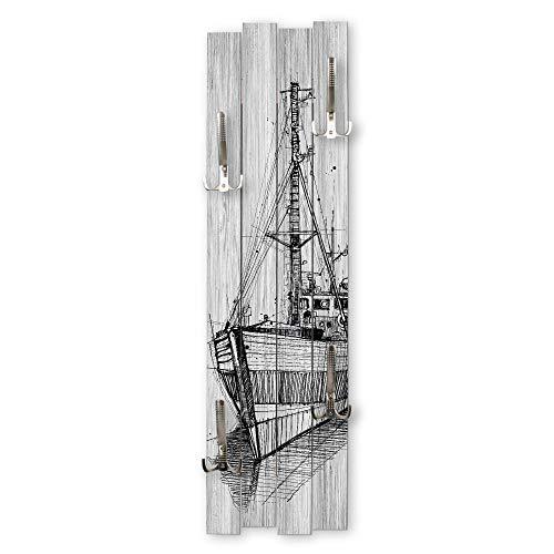 Schiff   Perchero de pared de madera, estilo shabby chic, aprox. 100 x 30 cm de tablero DM