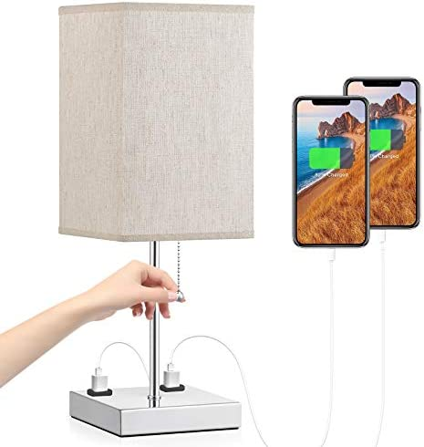 Table Lamp with Outlet Aooshine Bedside Lamp with Dual 2 Pin Charging Ports Beige Fabric Shade product image