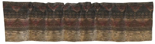"""HiEnd Accents Sierra Lodge-Style Window Curtain Valance, 18"""" x 84"""", Brown, Red & Tan"""