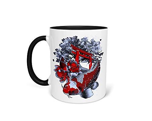Tasse Kaffeetasse mit Asia Koi Fisch Karpfen - Beidseitiger Druck - Fischbesitzer Teich Lotus Tempel