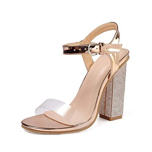 SHE.White Damen Transparent Sandalen Elegant High Heels Schnallenriemen 9 cm Party Sandaletten Blockabsatz Shoes Abendschuhe Große Größe Mode Schuhe absatz mit Strassmit 35-42