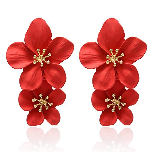 YBFZW damesoorbellen, grote bloemen, rode bloemen, oorbellen voor dames, oorbellen 2020 trend oorbellen Korea, vintage sieraden voor feestjes