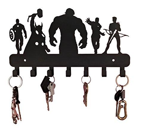 HeavenlyKraft Superheros Wall Mounted Metal Key Holder, Key Organizer, Metal Key hook, 10.6 X 7.5 X 1 INCH