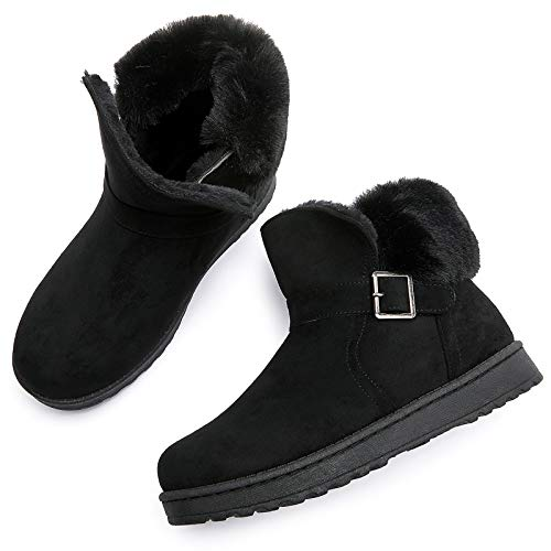 AOMAIS Women's Winter Snow Boots Warm Ankle Booties Short Boots with Buckle Brown Black(Blacke.US6)