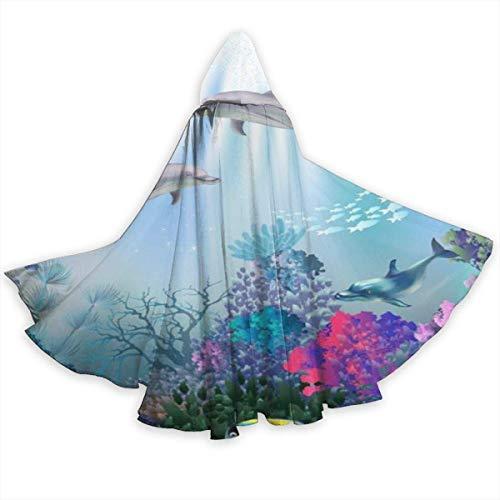 Capa de Capa para Adultos Dolphin Ocean Peces submarinos Arrecife de Coral Capa con Capucha de Halloween de Cuerpo Entero Capa de fantasa de Navidad Disfraces para Mujeres Hombres