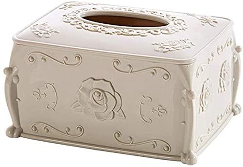 KMILE Caja de pañuelos para decoración de pañuelos de plástico para el hogar, cartón europeo creativo, sala de estar, servilletas, caja de almacenamiento de 17 x 12,5 x 8,8 cm (color beige)