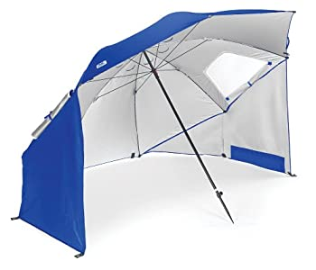 Sport-Brella Vented SPF 50+ Sun and Rain Canopy Umbrella for Beach and Sports Events  8-Foot Blue