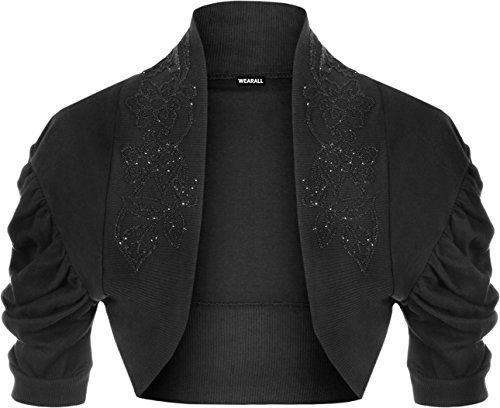 WearAll Ladies Ruched Shrug Womens Beaded Design Short Sleeve Bolero Cardigan Top Black 12/14