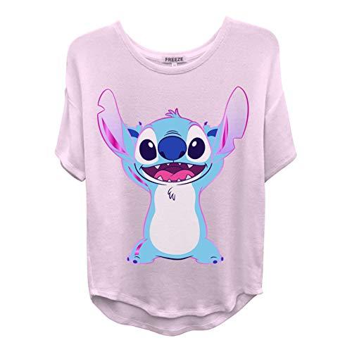 Disney Ladies Lilo and Stitch Shirt - Ladies Classic Lilo and Stitch Fashion Tee Lilo and Stitch Curved Hem Tee (Blush, Medium)
