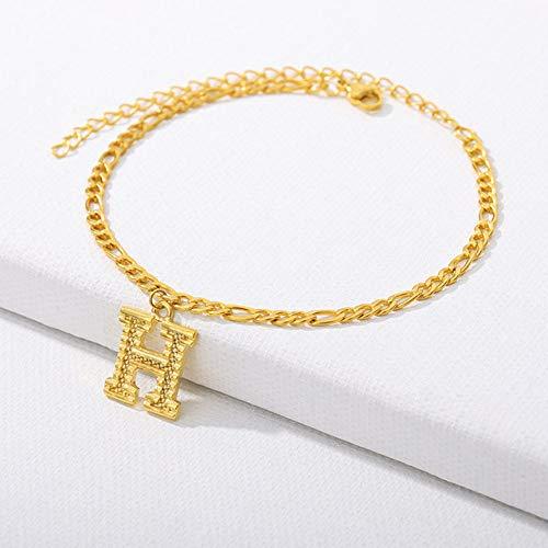 WEIYYY Pulseras de Tobilleras Iniciales para Mujer Pulsera de Tobillo con Alfabeto de Acero Inoxidable en la PiernaA-Z Letter Gold Chain Foot Jewelry, H, China