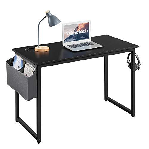 Yaheetech Mesa de Ordenador con Pasacables Ganchos Escritorio de Madera Negro Mesa para Estudio Oficina Despacho 120 x 60 x 75 cm Negro