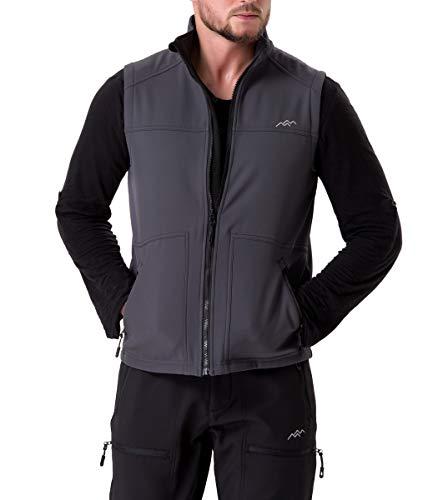 Trailside Supply Co.Men's Fleece-Lined Softshell Vest Outdoor Travel Gilet Stand Collar Water-Repellent,Grey,3XL