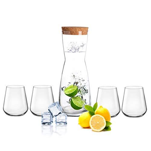 Royal Leerdam Jarra de cristal de 1 litro con tapa de corcho y 4 vasos