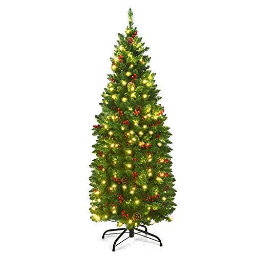 Goplus 4.5FT Pre-Lit Pencil Christmas Tree, Hinged Artificial Slim Xmas Tree w/ 452 Branch Tips, Premium PVC Needles (4.5FT)