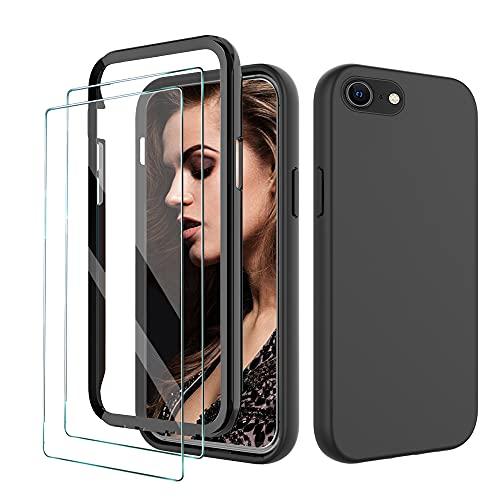 FullProtecter Cover Compatibile con iPhone 6/6S/7/8/iPhone SE 2020,[+2 Pezzi Pellicola in Vetro Temperato] Custodia Slim in Silicone TPU,Offerta 360 Gradi Protezione, Nero