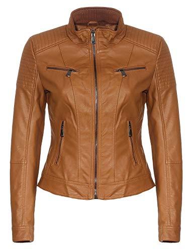 Malito Damen Jacke | Kunstleder Jacke | Jacke mit Zipper | lässige Bikerjacke - Sakko - Jackett 5179 (XL, Camel)