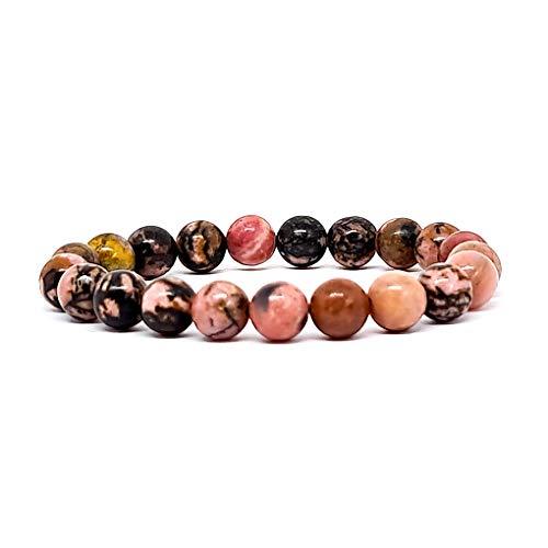 KIREI PARIS BIJOUX Bracelet pierres précieuses naturelles 8mm avec oeil de tigre et 7 chakras bouddha pour vous apporter protection force et bonheur (Rodonita)