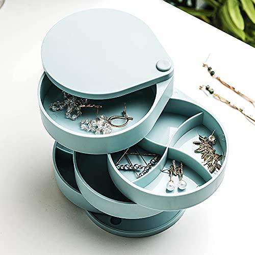 yonghe Pendiente giratorio Caja de almacenamiento de joyería estante pequeño delicado embalaje pendiente joyería red rojo clip paquete multi capa pendiente bo (Color: Azul)