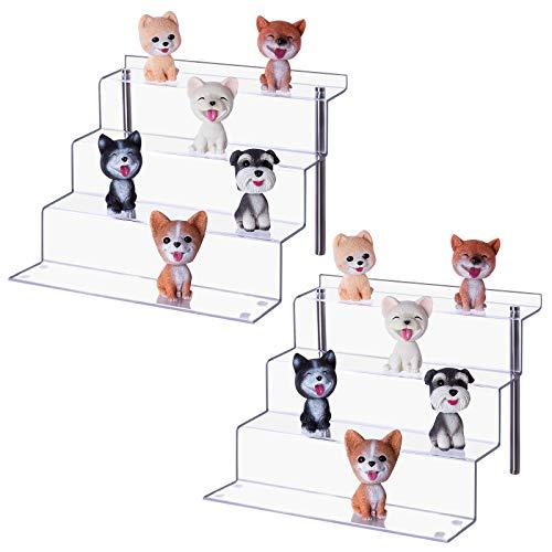 LileZbox Acrylständer für Funko Pops Amiibo-Figuren, 4 Stufen, Ablagefach für Cupcakes, Dessert, 30,5 x 27,9 x 22,4 cm (12 x 11 x 8,8 Zoll) [erweitert], 2er-Pack