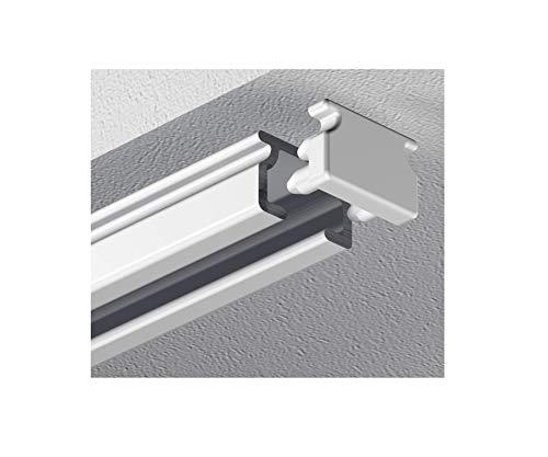 Garduna 120cm eckige Schleuderschiene Gardinenschiene Vorhangschiene, Aluminium, Weiss, Glatte, glänzende Oberfläche, 1-läufig - vorgebohrt!