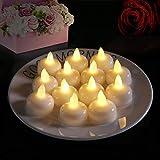 flintronic Bougie Flottante, 12PCS Mini Bougies à LED avec Piles (60-100Hrs, Lumière Blanc Chaud et Flamme Vacillante Lumière) Decoration pour Fête, Anniversaire, Halloween