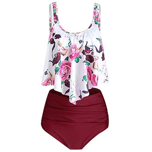 Allence Bikini Damen Set Hohe Taille Tankini Bademode Zweiteilig Badeanzug Große Größen Zweiteilige Strandkleidung Badeanzug mit Volant