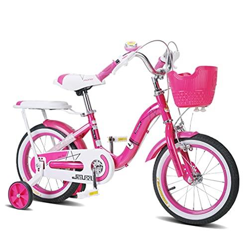 ZXQZ Bicicleta de Suspensión Delantera para Niñas con Ruedas de 12 Pulgadas, Rosa, con Estabilizadores, Asiento Ajustable (Color : Rose Red)