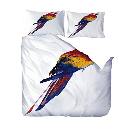 Baby Quilt Cover Set Super King/220x260cm/86.5x102 inchesAnimal bird blue 3D Designs Duvet Cover With 2 Pillowcases 3D Printed Bedding Set With Zipper Closure Soft Microfiber Double Duvet Cover Set