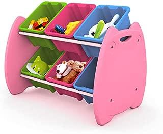 livinbox Toy Storage Organizer Owl Toy Tower Toddler's with 6 Multiple Color Plastic Bins Shelf Drawer,EN-HA08,Pink Rack