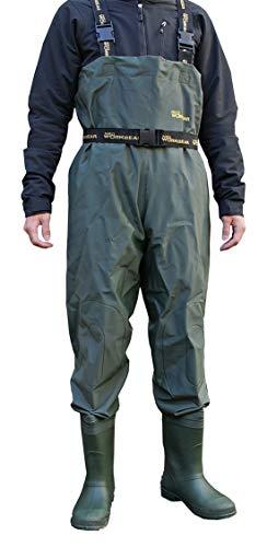 PVCウェーダー ひざあて付 ネオワークギア 胴付き長靴 完全防水 チェストハイ 胸当て付き (28cm, 2500 PVCウェーダー)