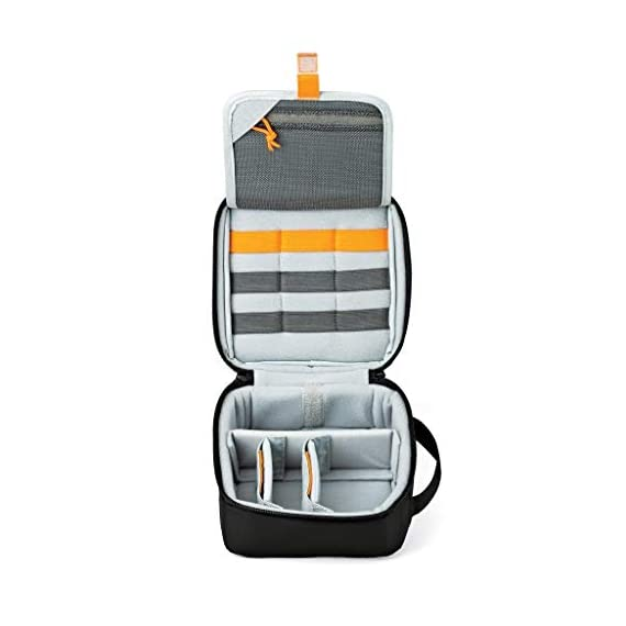 Lowepro LP36915 ViewPoint CS 40 - A Soft-Sided Protective Case for a Smartphone, GoPro or 360 Camera and Accessories… 6 Smart interior organization includes adjustable dividers, three with a built-in pockets to stash a backdoor, filter or remote (and keep it from scratching camera); plus a roomy zippered pocket for cables, backdoors, mounts, tools, manuals, etc.; top panel with built-in memory pockets; plus a padded panel with stretching webbing straps to organize and secure cables and mounts Super-portable design makes it easy to carry in a larger bag or carry by the grab handle. Exterior webbing straps provide extra carry and attach options.