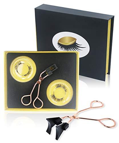 Davocy Magnetic Eyelashes Applicator Tool Kit, Magnetic Eyelashes without Eyeliner, Glue-free Magnetic Eyelash Clip & Eyelashes Set with 2 Pairs Soft Magnetic False Eyelashes Natural Looking (Gold)