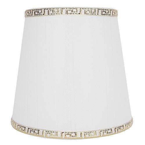 Lampenschirm, moderne Tischleuchte Lampenabdeckung Stoff Lampenschirm Zubehör Home Decoration für E14 Schraubbirne(Weißgold-Drahttyp)