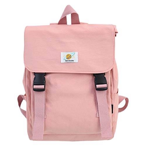 Camisin Ladies Canvas Schoolbag Girl Travel Bag Backpack Student Large Capacity Backpack Pure Color Casual Backpack Handbag Pink