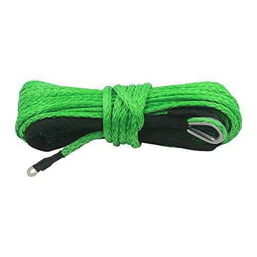 """TYT 1/4"""" x 50' Dyneema Synthetic Winch Rope, Stronger and Safer Than Steel Cable Synthetic Winch Rope for 8200 lb with Protecting Sleeve and Thimble, for UTV ATV Winches Line Cable Rope (Green)"""
