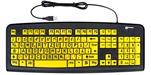 Tastatur mit großen Tasten und extra großer Schrift (Schwarz auf Gelb) mit Windows XP, Vista, 7, 8, 10 kompatibel - plug&play (deutsche Version) - Geemarc KBSV3_YEL_GE