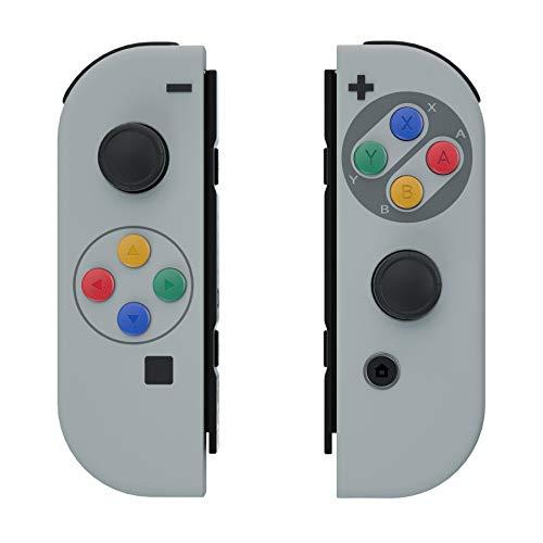eXtremeRate Carcasa para JoyCons de Nintendo Switch Funda de Agarre Shell Cubierta Tacto Suave con ABXY Drecctión Botones para Nintendo Switch No Incluye Carcasa de Consola(Clásico SFC SNES EU)