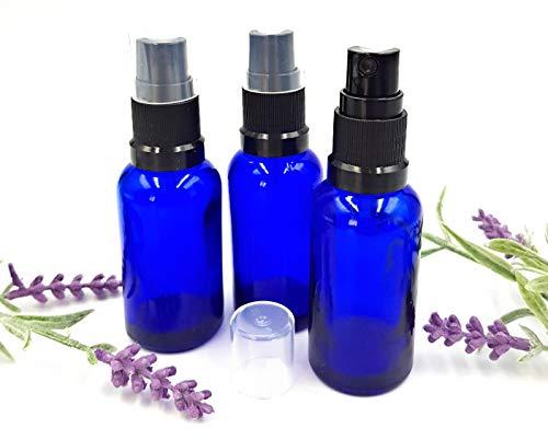 Pack 3 x frasco vidrio azul 30 ml pulverizador/spray
