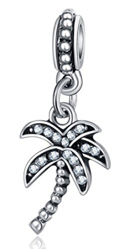 J&M Dangle Coconut/Palm Tree with Clear Crystals Charm Bead for Charms Bracelets