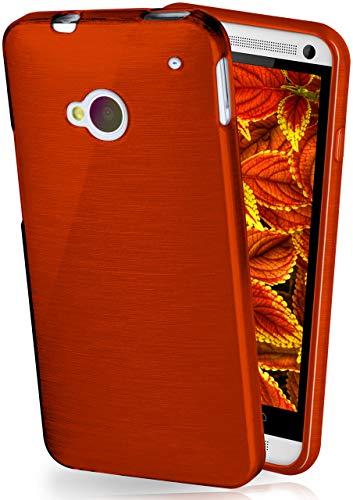 MoEx® Stylische Brushed Aluminium-Optik & starker Grip | Ultra dünne Silikonhülle passend für HTC One M7 in Wein-Rot