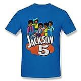 ZYYM Jackson 5 Men's Cotton Retro Graphic Basic Short Sleeve T-Shirt Blue Large